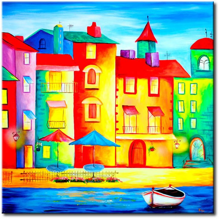 Tableau Village plein de couleurs