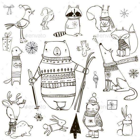 Stellen Sie mit Wintertieren – Weihnachtsjahreszeiten / Feiertage ein   – Illust…
