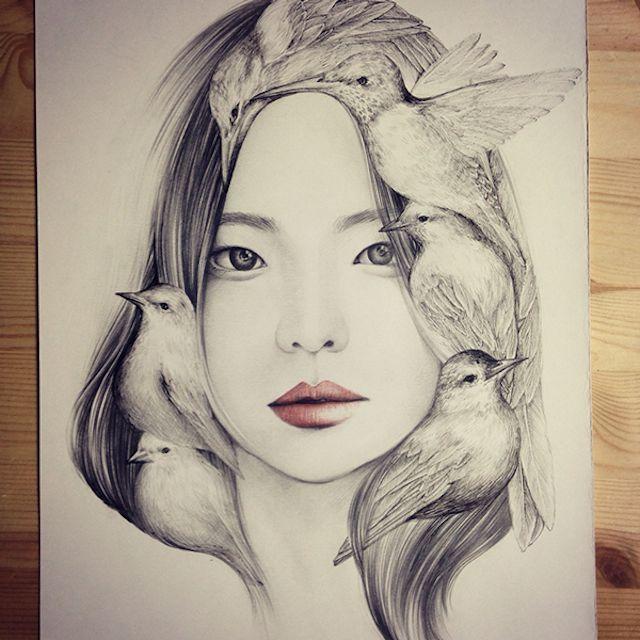 drawing by korean artist okart http://www.fubiz.net/2015/01/16/the-girl-and-the-birds-drawings/