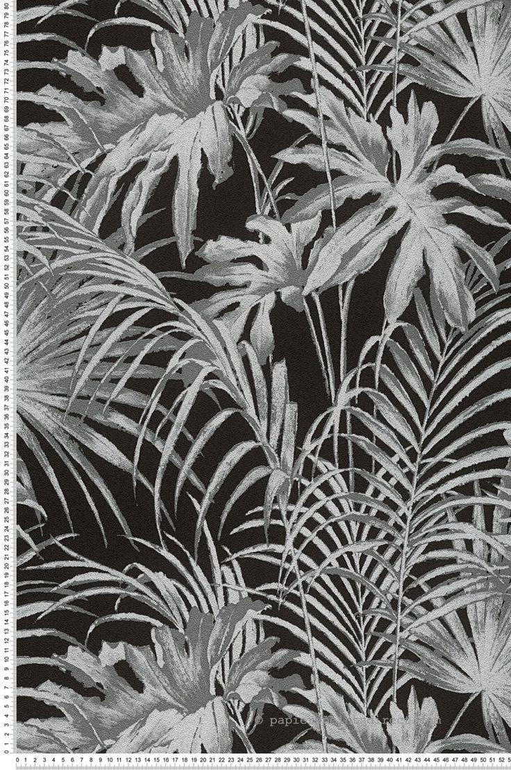 Papier peint Feuillage noi - collection Soraya de Lutèce : Papier peint chambre, entrée, pièce à vivre à motifs