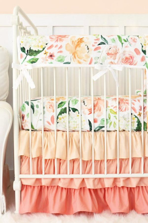 Secret Garden Crib Set Watercolor Floral Crib Bedding Peach Coral Green Large Floral Flora Crib Bedding Girl Baby Girl Crib Bedding Floral Crib Bedding