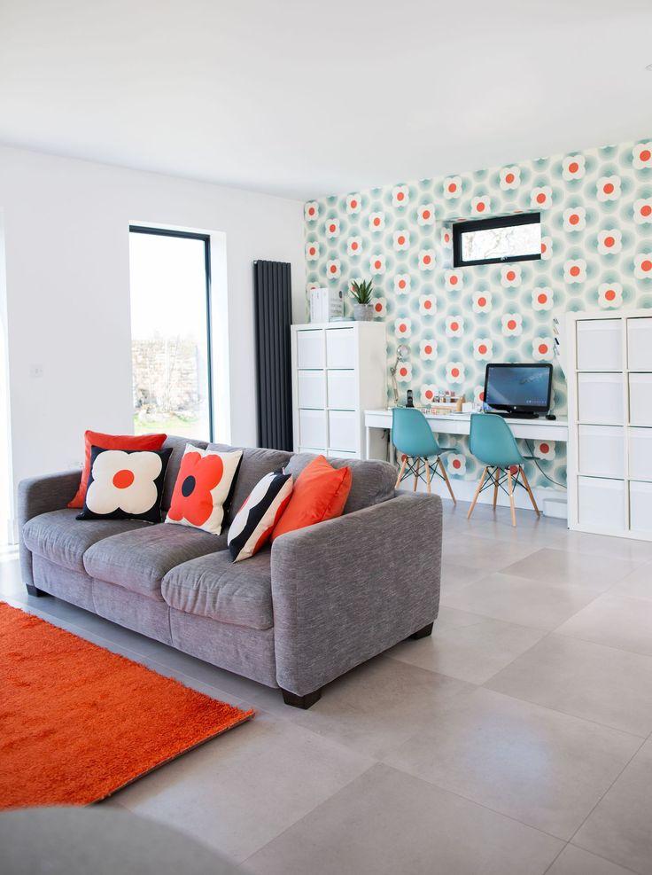 Orla Kiely wallpaper transforms the white space in this retro kitchen