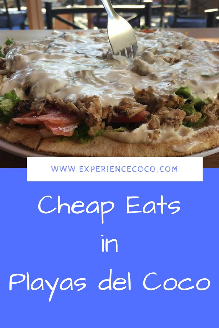 Eating out in Costa Rica can get expensive but it doesn't have to be. These budget restaurants in Playas del Coco offer cheap eats for budget travelers, with meals under $10! #budgettravel #costarica #eatcheap
