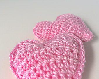 Cuore rosa Bomboniere, uncinetto cuore favori, favori nuziale cuore, decorazioni di nozze, Bomboniere uniche, decorazione della tavola di nozze