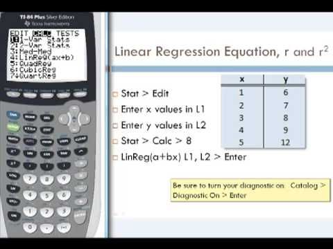 How to compute the linear regression equation, y=ax+b, the linear correlation coefficient, r, and the coefficient of determination, r^2, using the TI-84 calc...