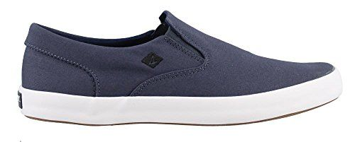 Sperry Top-Sider Men's Wahoo Slip on Boat Shoe  Lightweight breathable canvas uppers  Versatile gore slip on  Removable pu footbed  Molded wave siping for ultimate wet/dry traction