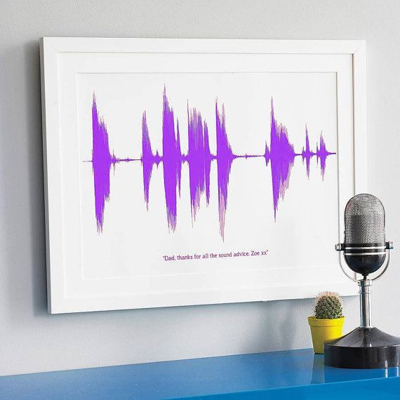 LARGE Personalised Your Voice or Song Sound Wave Print a3. Sentimental gift for Dad on Fathers Day. Soundwave ultrasound heart beat for him