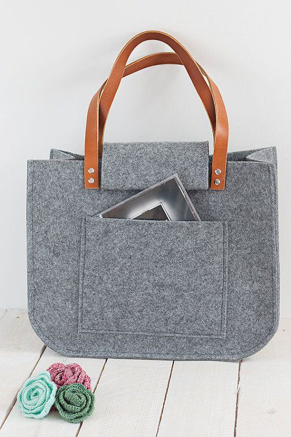 Grey felt tote bag, Tote, big size, for shopping, spring bag, genuine leather handles, tote bag, tote felt