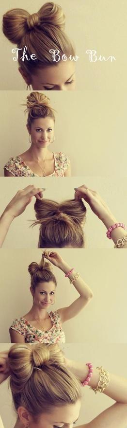 so simple.: Idea, Hairstyles, Hairdos, Hair Styles, Bow Buns, Hair Tutorial, Hair Bows, Updo