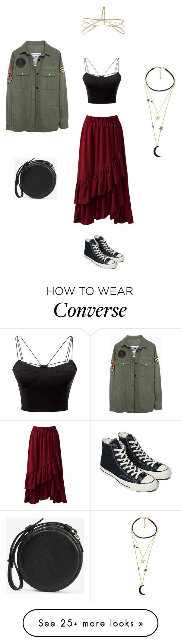 """Decended"" by thelittlefanthatcould on Polyvore featuring Sans Souci, WithChic, Zadig & Voltaire, Converse, Miss Selfridge and Maison Margiela #schooloutfits"