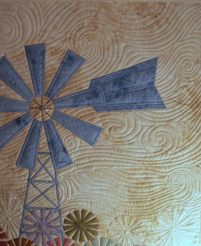 The quilting conveys the motion of wind very nicely. The full quilt is on the website.