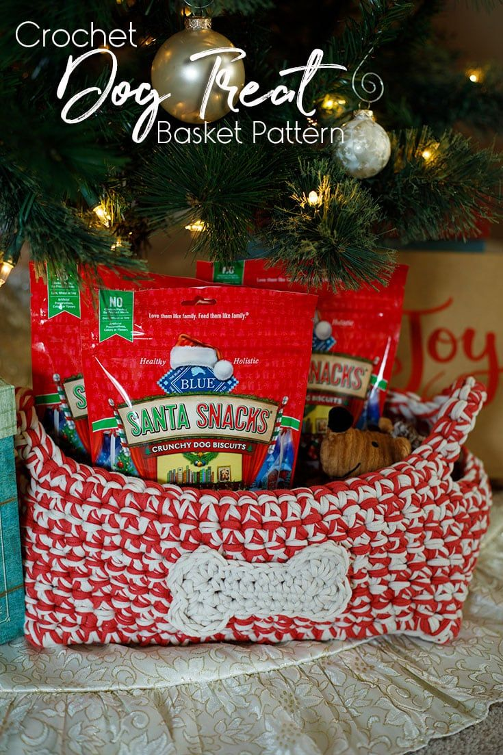 Create a crochet dog treat basket with this free crochet pattern! Great way to keep all your dog's treats in one spot!