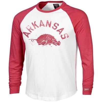 Arkansas Razorbacks Baseball Raglan Long Sleeve T-Shirt - White/Cardinal