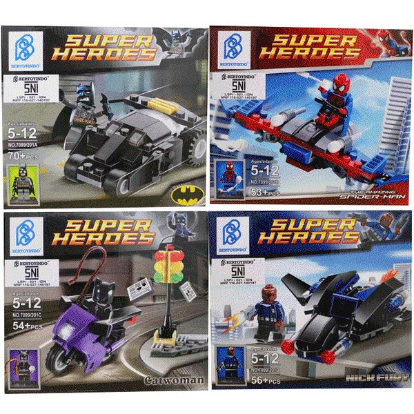 LEGO Superheroes ( 4 in 1 Set ) : Batman-Spiderman-Cat Woman-Nick Fury + Vehicle ( Kendaraan Superheroes ). www.bukalapak.com/IndoSoccerStarz #Lego #brickstoy #mainananak #mainanlego #kado #gift #superheroes #bukalapak