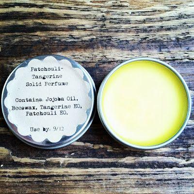 15 ml Jojoba Oil 50 drops Patchouli Essential Oil 40 drops Tangerine Essential Oil 5 grams BeeswaxI