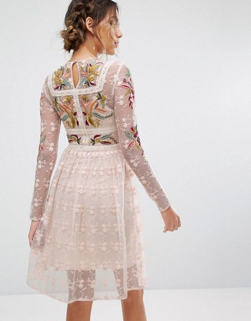 Frock and Frill | Frock & Frill Floral Embroidered Skater Mini Dress With Lace Trim