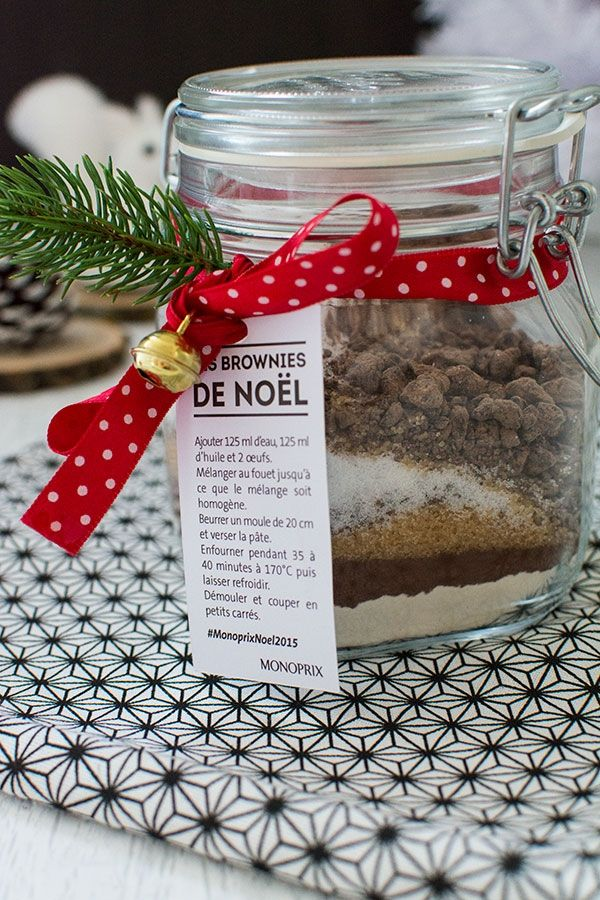 recette de no l cadeau gourmand brownie en bocal diy. Black Bedroom Furniture Sets. Home Design Ideas