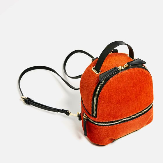 Image 2 of MINI LEATHER BACKPACK from Zara