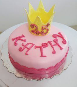 25th Birthday Cake with Crown Topper