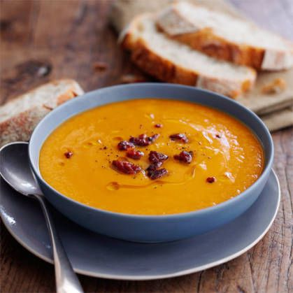 If you prefer a chunky texture, blend this sweet potato and chorizo soup roughly rather than blitzing it until completely smooth.