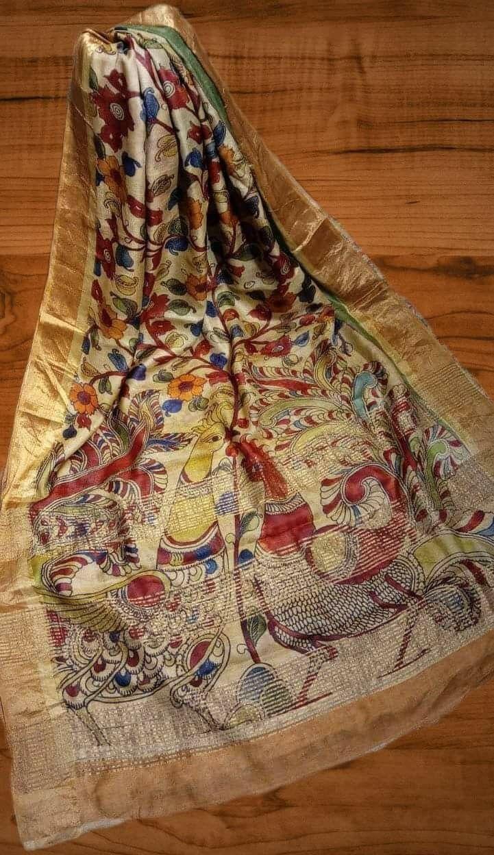 Kalamkari Design On Bishnupuri Tassor Silk With Blouse Piece Bishnupuri Tassor Silk With Kalamkari Hand Painted Saree Bishnupuri Tussar Silk
