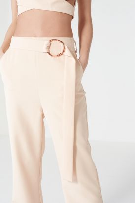 Nude Oversized D-ring Belt Tailored Flares