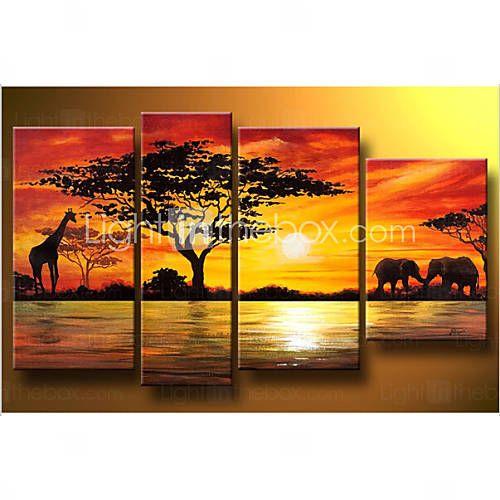 africano paisagem pintura a óleo pintados à mão moderno abstrato elefante girafa pôr do sol na lona 4pcs / set sem moldura de 3806559 2016 por R$175,22