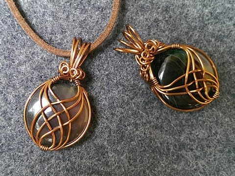 pendant with big stone no holes - How to make wire jewelery 242 - YouTube