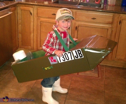 Lil Fisherman with his Trawl Boat - 2012 Halloween Costume Contest