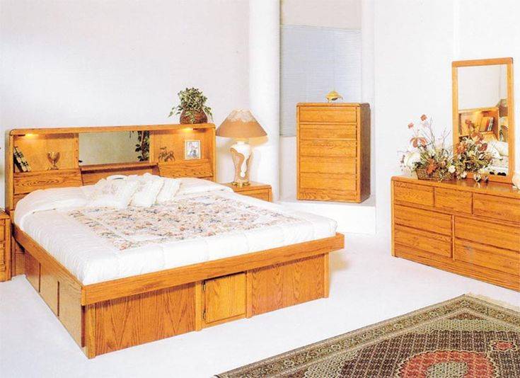 California King Waterbed Frames | California King Jasmine Oak Headboard from Awesome Waterbeds