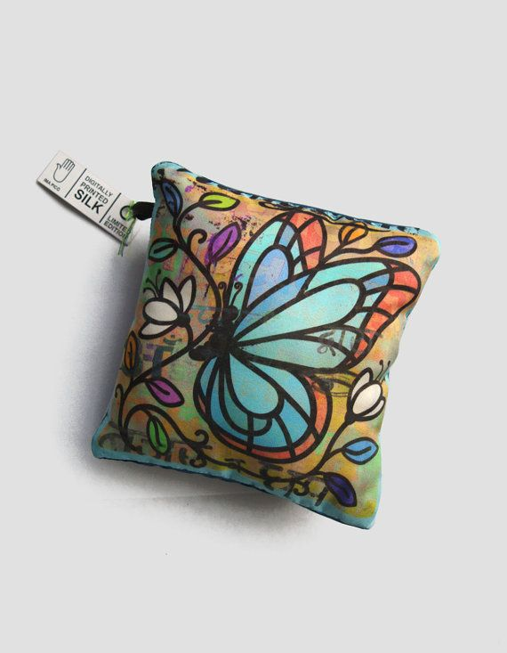 Silk Cushion Decoration, Blue and Peach Butterfly Pillow, Decorative Throw Pillows, one-of-a-kind Home Decor UK, housewarming gift https://www.etsy.com/uk/listing/213349711/silk-cushion-decoration-blue-and-peach