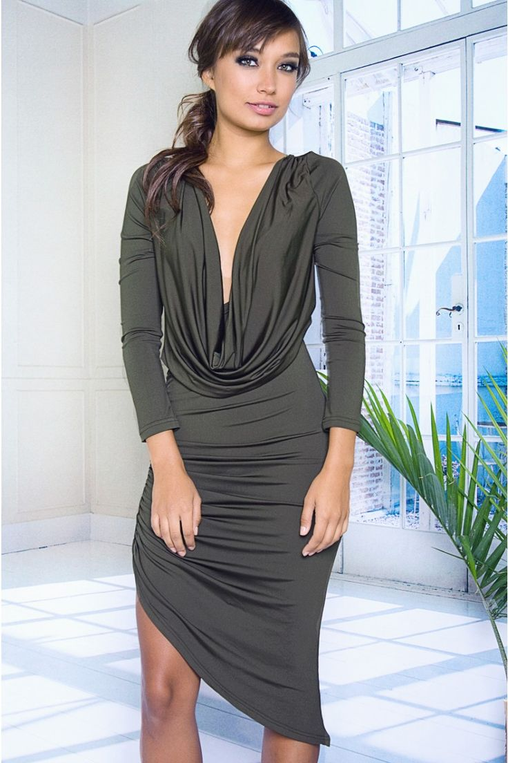 Mini is great, but sometimes, more length may be desired. This dress is perfect. First, take a unique color, then add an asymmetrical bodycon pencil skirt that reaches the knee, and finish it off with a great cowl neck. Add in long sleeves for the perfect piece to wear for both formal occasions and going out.