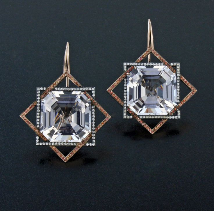 Morganite, Orange Sapphire, Diamond, Silver and 18K Rose Gold Ear Pendants by…