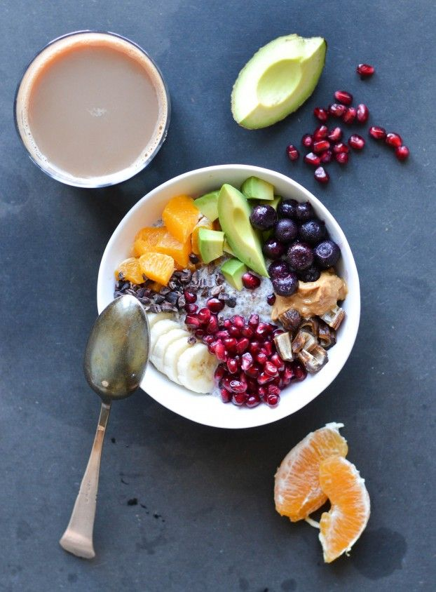 Sweet breakfast bowl with chia & almond porridge -- keeps well for 2-3 days in the fridge, so it's the perfect go-to breakfast or snack.