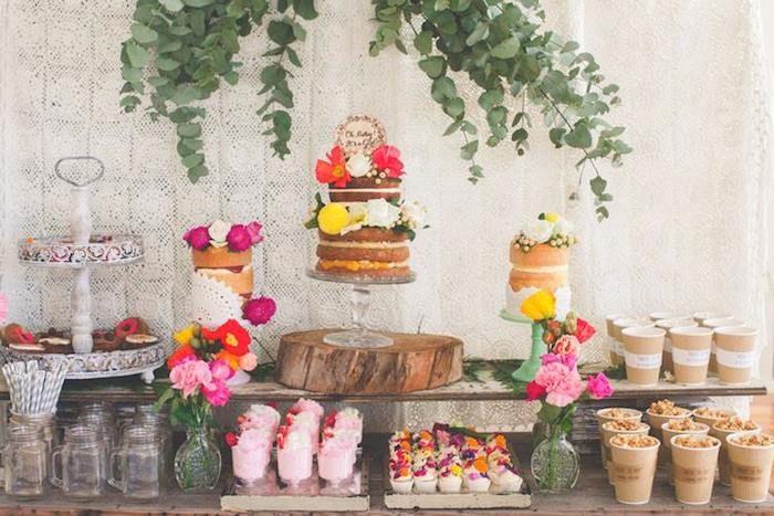Rustic Boho themed baby shower via Kara's Party Ideas KarasPartyIdeas.com Cakes, decor, printables, invitation, cupcakes, desserts, favors, and more! #rusticbabbyshower #bohoparty #bohobabyshower (13)