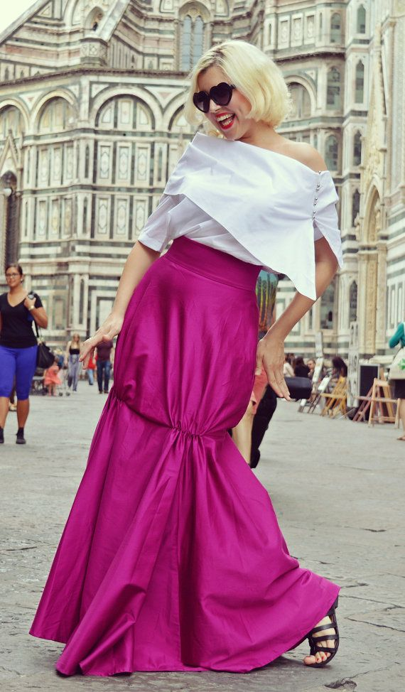 Dark Fuchsia Skirt / Fabulous Dark Fuchsia Skirt / Extravagant Skirt / Summer Long Skirt TS13