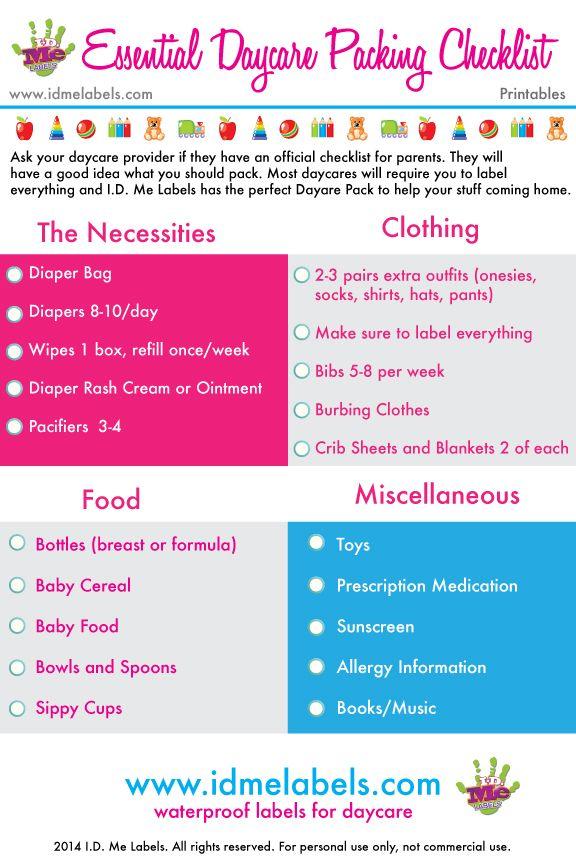 Free Daycare Checklist Printables.   Colorful, Dishwasher-Safe Daycare Labels by I.D. Me Labels http://www.idmelabels.com/