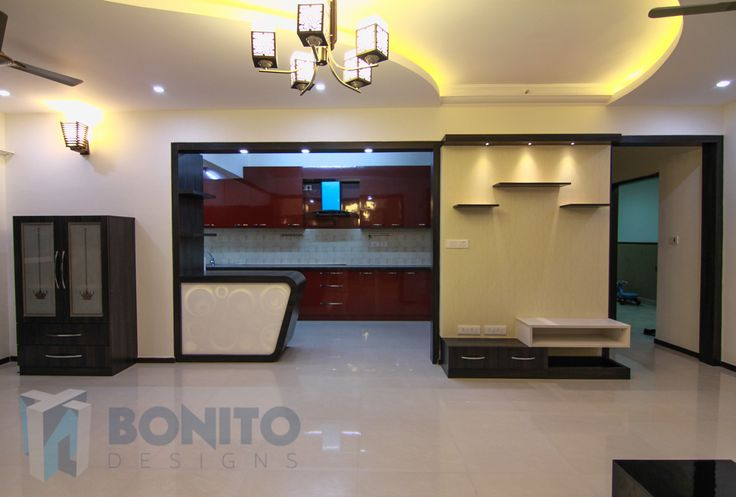 This is how the modular kitchen and the breakfast counter looked after installing interiors in 2bhk apartments, Salarpuria Greenage #BonitoDesigns