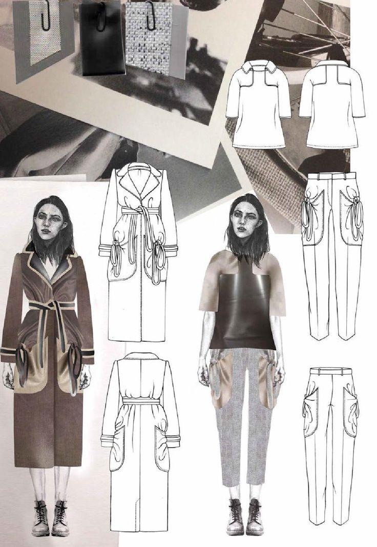 Fashion Sketchbook page - fashion design drawings; fashion student portfolio // Joanna Fisher
