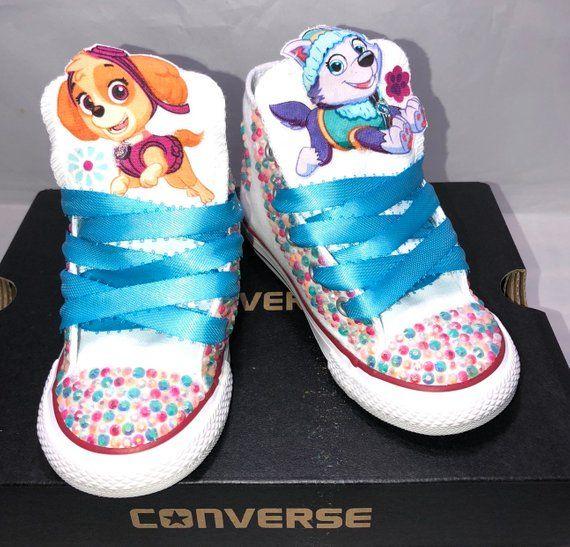 8eb3c2427272f Girls Custom Converse- Kids Converse- Bling Converse- Paw Patrol ...