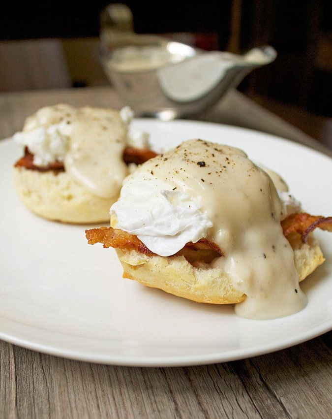 Get the recipe: Southern eggs Benedict with biscuits, bacon, and gravy Image Source: 40 Aprons