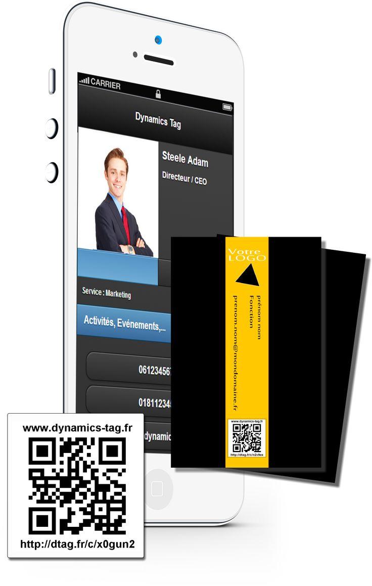 Cartes de visite papier associée à une carte de visite virtuelles via un qrcode : carte noir avec bande jaune