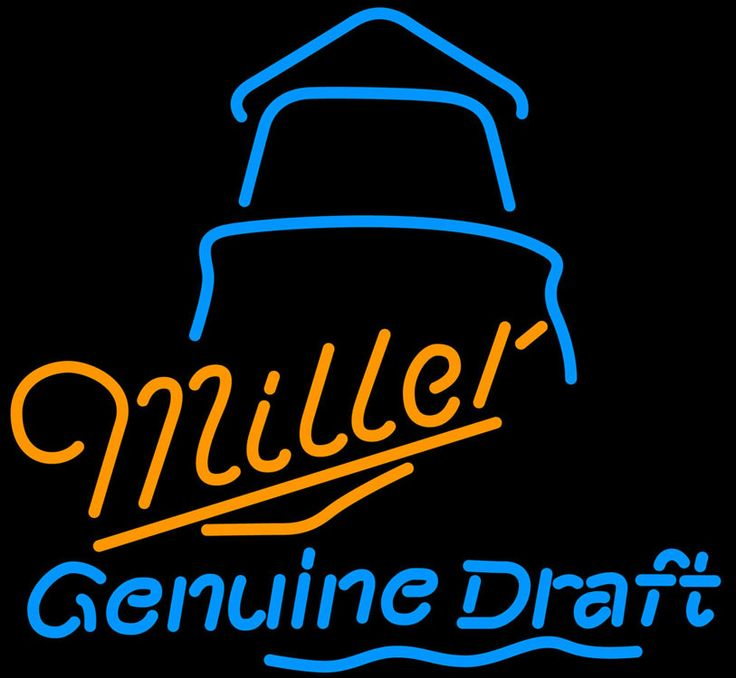 Miller MGD Day Lighthouse Neon Sign, Miller MGD Neon Beer Signs & Lights   Neon Beer Signs & Lights. Makes a great gift. High impact, eye catching, real glass tube neon sign. In stock. Ships in 5 days or less. Brand New Indoor Neon Sign. Neon Tube thickness is 9MM. All Neon Signs have 1 year warranty and 0% breakage guarantee.