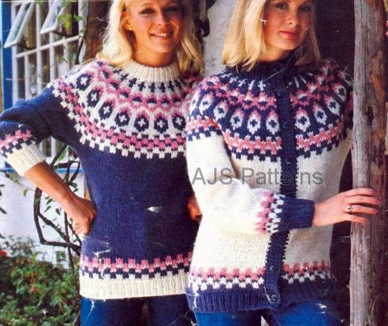 PDF Knitting Pattern for a Ladies Fair Isle Sweater and Cardigan in Lopi Yarn.