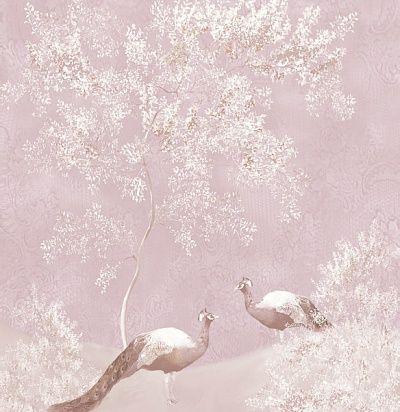 розовые обои с павлинами - вариант для роскошной чувственной спальни дивы 365104 Eijffinger