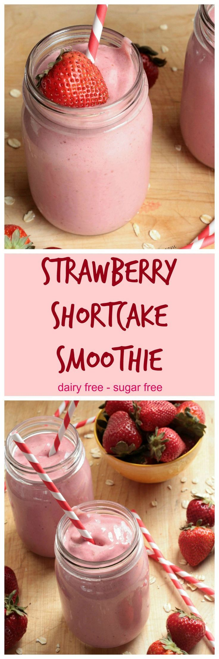 Healthy Strawberry Shortcake Smoothie - thick and sweet and delicious! Made with real whole food ingredients! Dairy Free and Vegan!