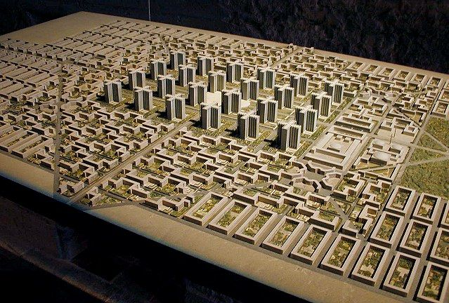 """The mock-up of Le Corbusier's """"Ville contemporaine."""""""