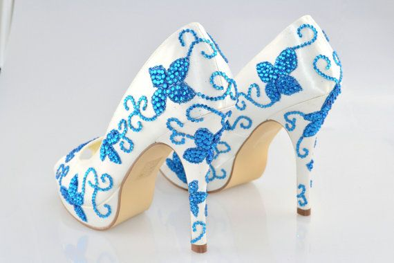 Swarovski Mon Something Blue Cobalt cristal Glitter Platform nuptiale High Heel Peeptoe pompe satin