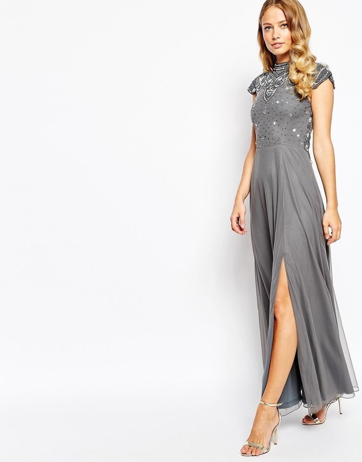 Image 4 ofFrock and Frill Embellished High Neck Maxi Dress with Mesh Back