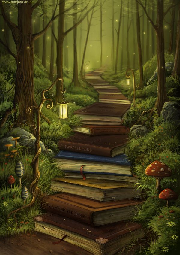 The Reader's Path by jerry8448, MorJersArt. #Painting #Art #Books #Imagination #Escape #Fantasy #Adventure #Light #Firefly #Nature